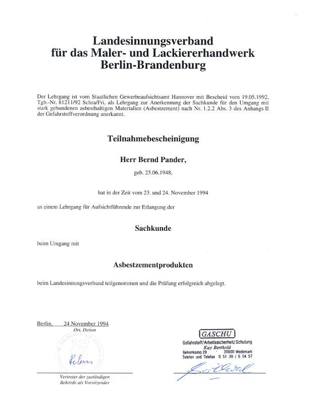 Gewerbeaufsichtsamt Berlin malermeister pander berlin brandenburg und umgebung